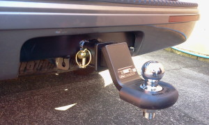 Megatyre's cushioned shin protector protects you from the agony of walking into your towbar.