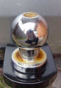 This rusted towball is typical of weathered towballs.